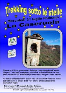 Mercoledì 31 luglio trekking sotto alle stelle, La Caseruola